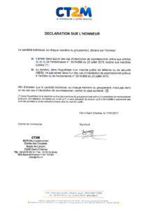 thumbnail of Déclaration sur l'honneur