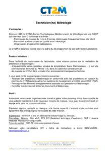 thumbnail of Embauche CT2M technicien metrologie