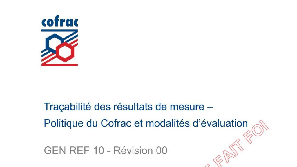 Nouveau document du COFRAC : GEN REF 10 – Révision 00