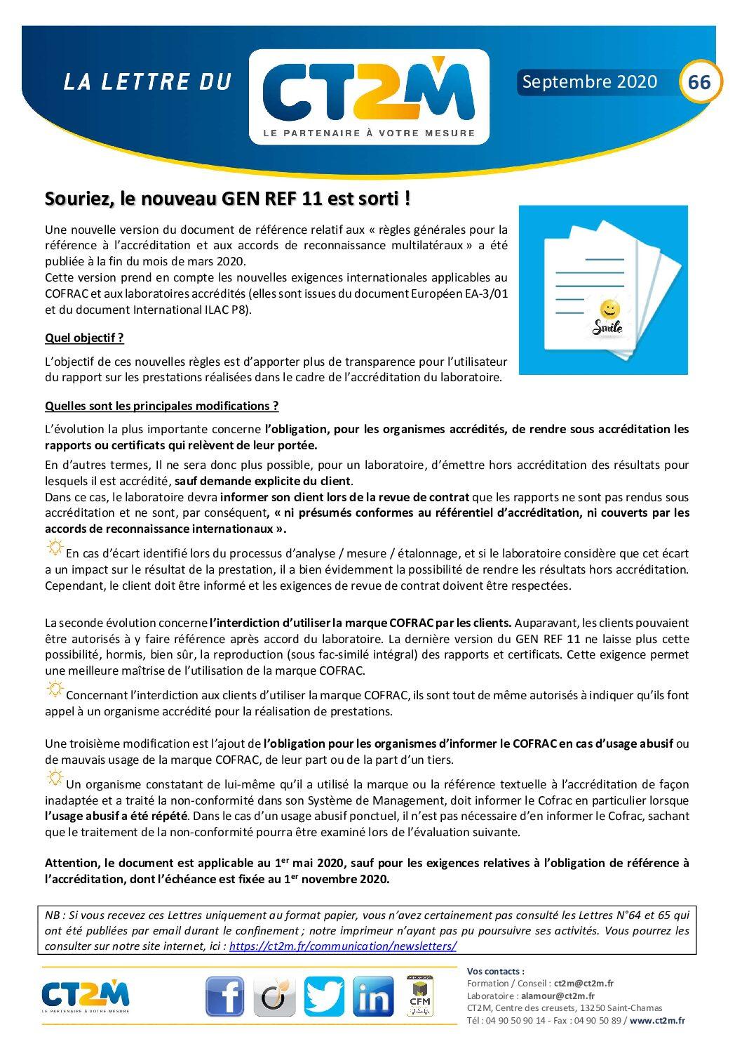 Lettre N°66 : les évolutions du GEN REF 11, nos nouvelles formations